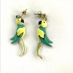 Tropical Birds Earrings Vintage 80's Dangle